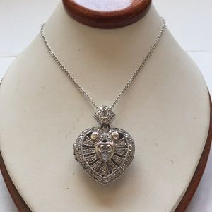 925 heart locket and chain necklace